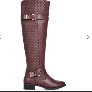JustFab Karenna Burgundy Quilted Riding Boots 8